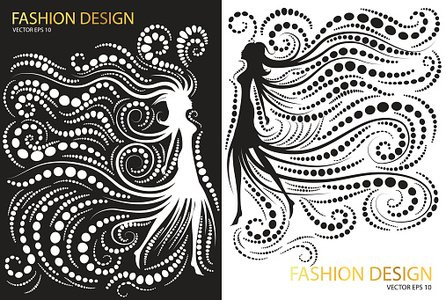 Abstract Fashion Design Black And White Clipart Image