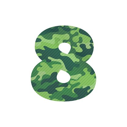 Number eight icon with green camouflage.