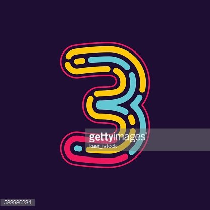 Number three icon formed by neon line or fingerprint.