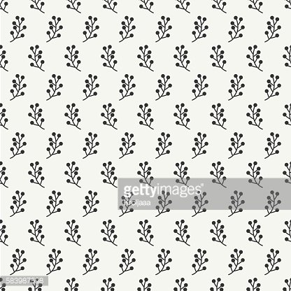 Autumn seamless pattern made of berries. Floral background. Doodle art.