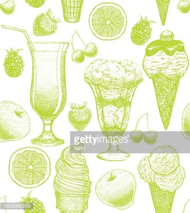 vector colorful background with ice-cream cocktail berries and fruits