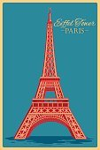 Vintage poster of Eiffel Tower in Paris famous monument in