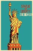 Vintage poster Statue of Liberty New York famous monument in