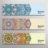 Graphic trendy banners set, geometric header