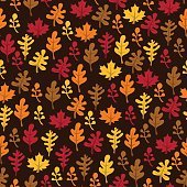 Retro Fall Harvest Leaves Seamless Pattern Background
