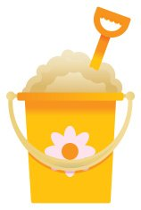 Yellow bucket and spade on white background