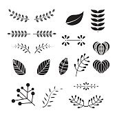 leaf and branch vector, ornament set