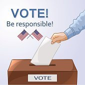 Voting concept - hand putting paper in the ballot box.