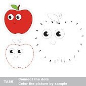 Red apple. Vector numbers game.