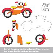 Paper kid game. Easy application for kids with Bike.