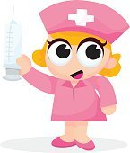 Cute Cartoon Nurse With Big Syringe