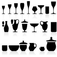 Black Silhouettes of Glasses & Cups & Drink Recipients