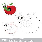Worm and apple. Vector numbers game.