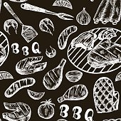 Pattern with barbecue food on craft paper.