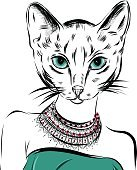 cat girl dressed up in party dress animal illustration. Vector