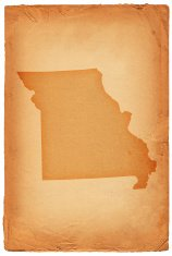 Missouri state map on old paper background