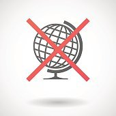 Not allowed icon with a world globe