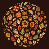 Vector doodle cartoon set of Autumn objects