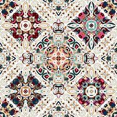Luxury oriental tile seamless pattern. Colorful floral patchwork background. Mandala