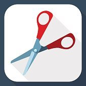 Scissors icon with long shadow