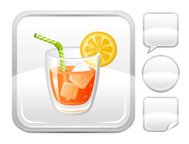 Orange juice with lemon  icon on silver button