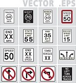 Speed Limit &  Lane Usage and Turns sign road.