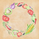 Vegetable Wreath on Craft Paper
