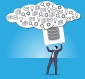 Putting data into cloud business concept