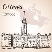 The Gothic Revival Parliament Buildings Ottawa and map.