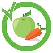 Apple and carrots in a green circle with a check mark