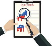 Vector concept of US presidential election. People choose Democratic Party.