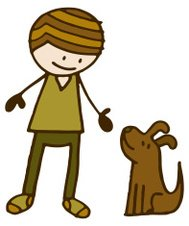 Boy with a brown dog