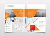 Business presentation with photo and geometric graphic elements.