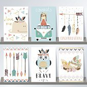 Light blue pink gold card template with whale,feather,arrow