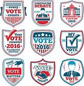 Vector set of Vote labels and badges for elections, debates