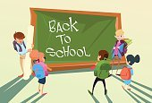 Back to School Children Group Board Education Concept
