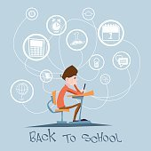 Schoolboy Sit School Desk Abstract Education Background Concept