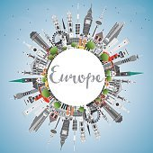 Europe skyline silhouette with different landmarks and copy space