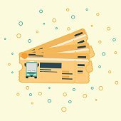 stack of bus ticket flat vector drawing illustration