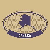 Alaska map silhouette - oval stamp