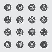 Disaster black circles line icon