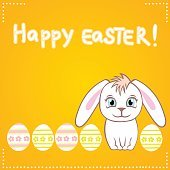 Colorful Happy Easter greeting card with white bunny and eggs.
