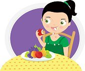 girl eating an apple at the table vector illustration