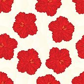 Seamless texture red hibiscus flower polygons vector