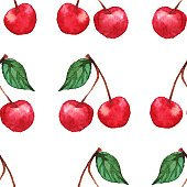 Watercolor cherry berries seamless pattern texture background