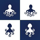 Stylized silhouette of blue octopus on white background.