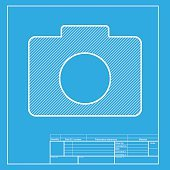 Blueprint icon of camera premium clipart clipartlogo film clapperboard vector blueprint icon digital camera sign white section of icon on blueprint template malvernweather Choice Image