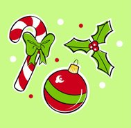 Christmas Candy Cane, Holly and ornament