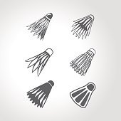 Badminton shuttlecock or birdie vector set collection