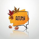 Autumn sale label, banner. Vector watercolor banner with ink splashes.